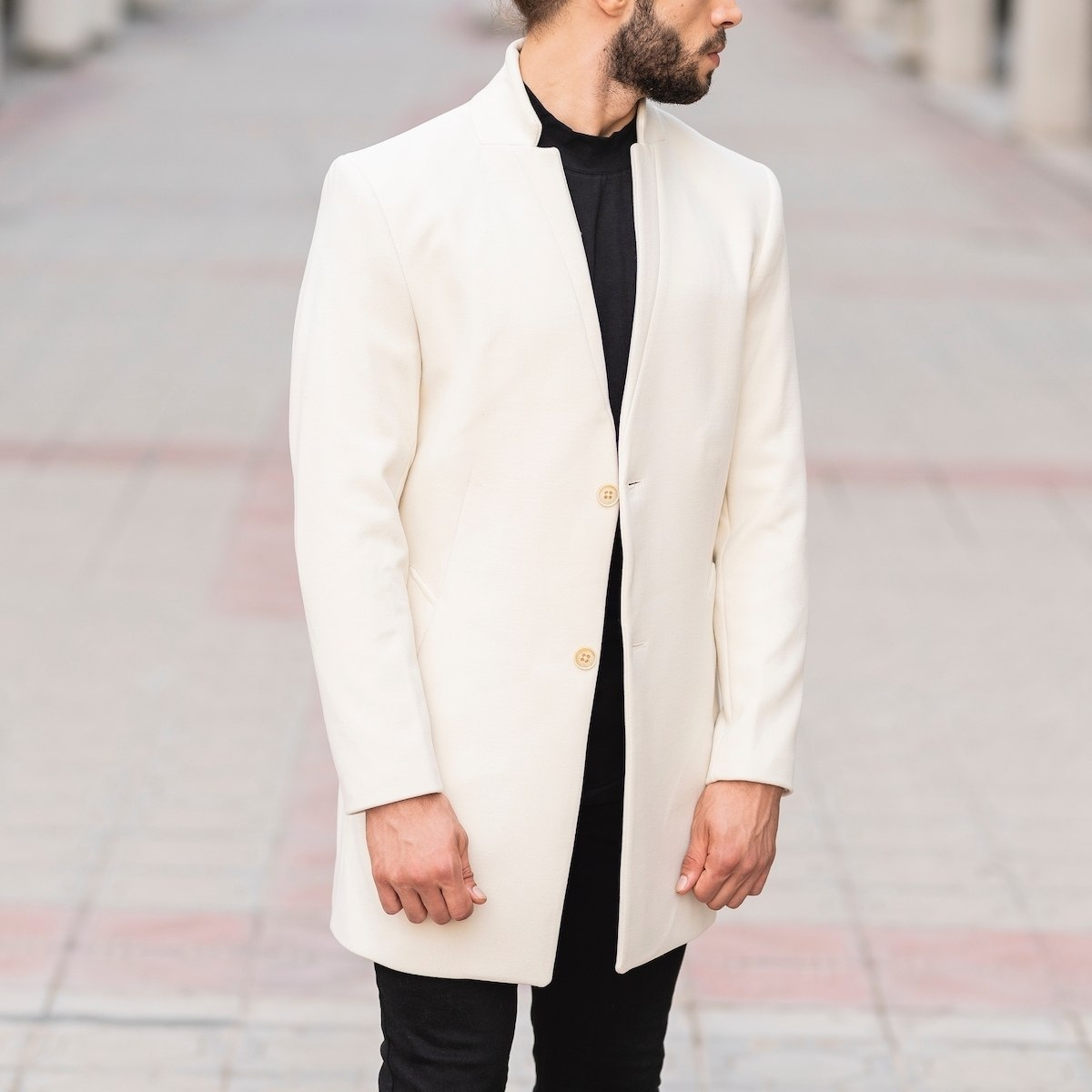 Men's Woolen Coat In White