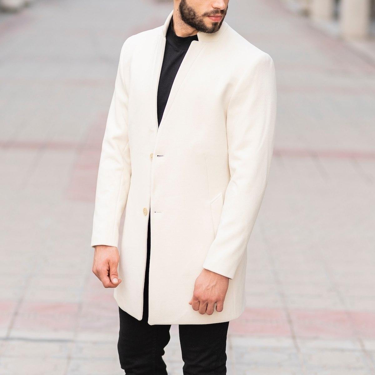 Men's Woolen Coat In White