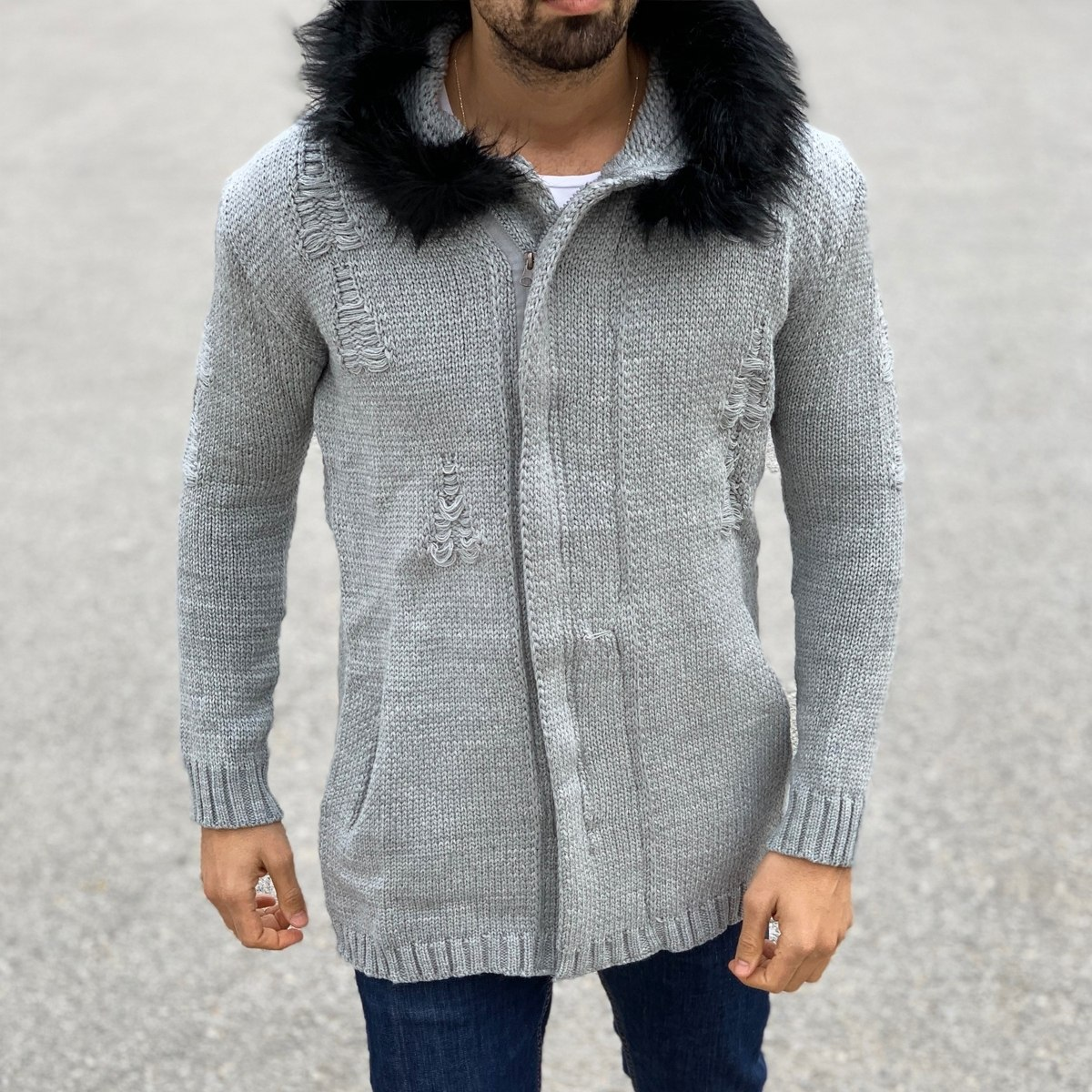 Cardigan Hoodie with Furry Hood and Worn Design in Grey