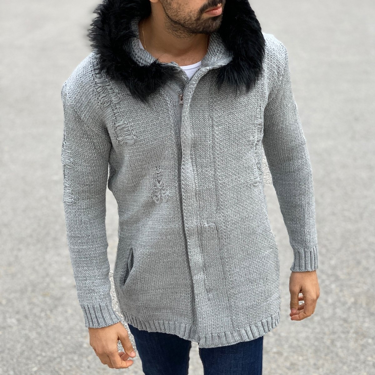 Cardigan Hoodie with Furry...