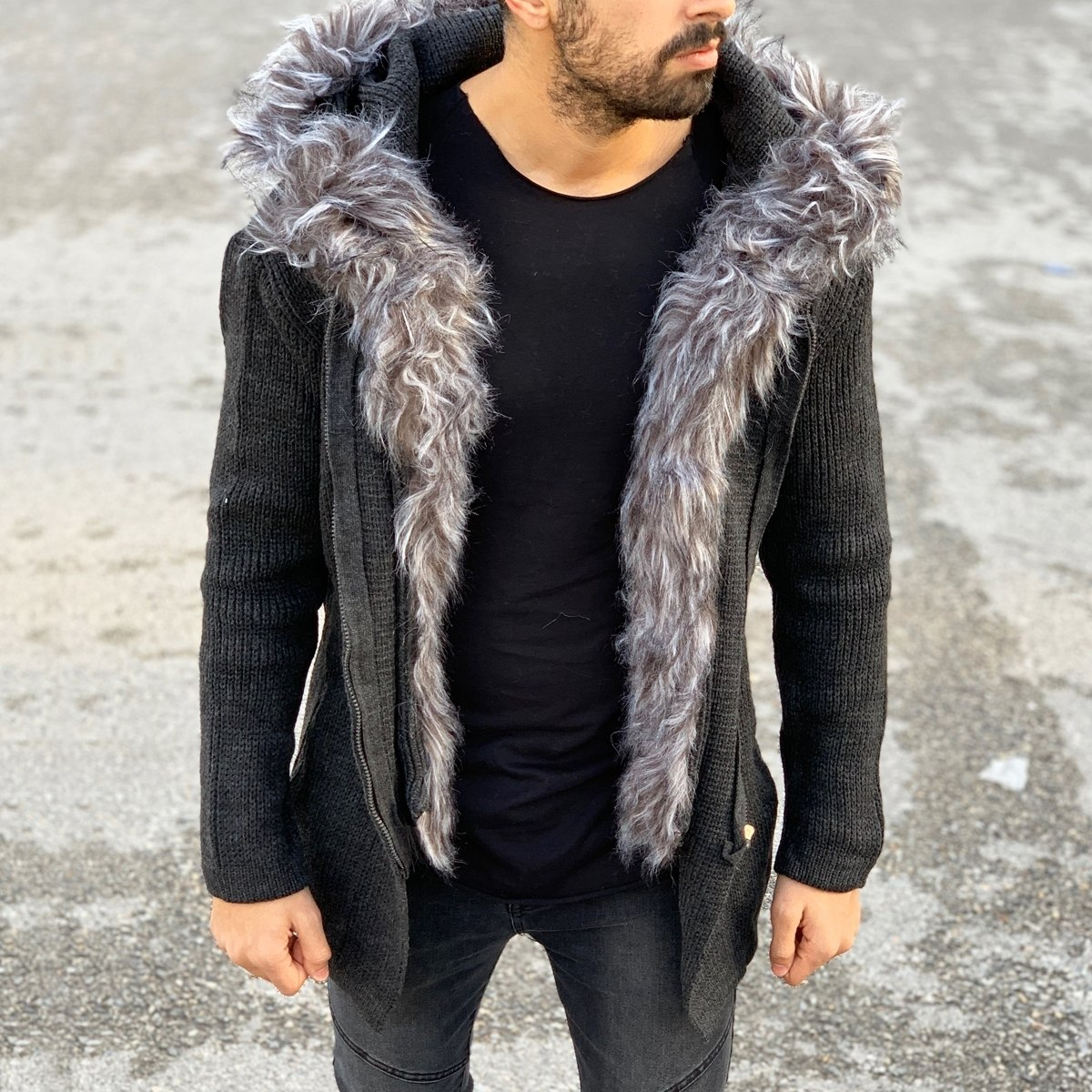 Furry Hood and Trim Cardigan Jacket in Charcoal Grey