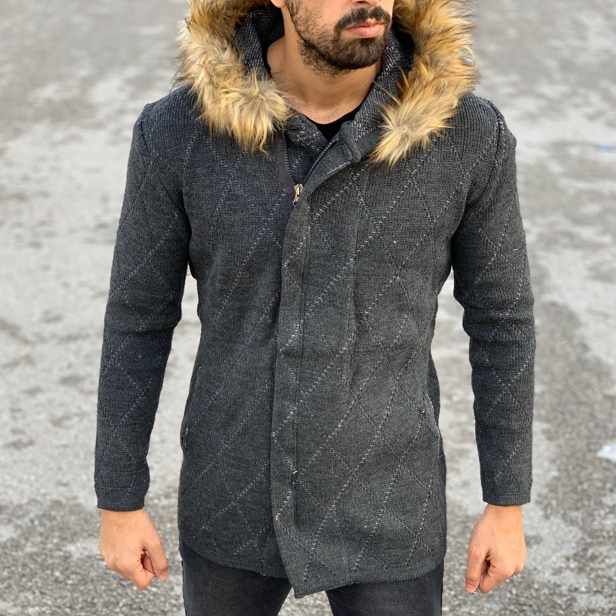 Quilted Pattern Fur-Hood Cardigan Jacket in Charcoal Grey