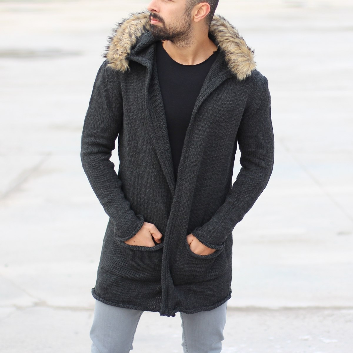 Hooded Cardigan Jacket with...