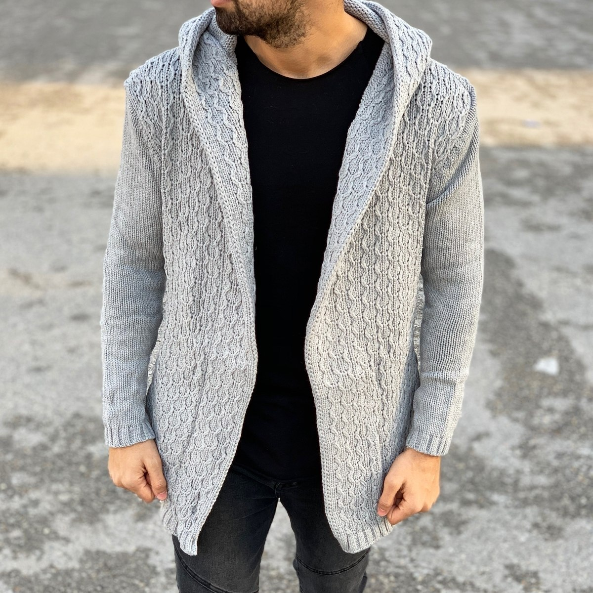 Winter Hooded Cardigan in Grey