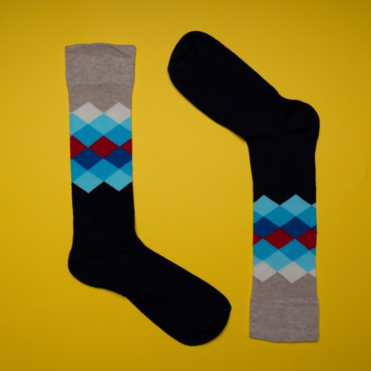 Men's Colorful Oxford Socks In Black