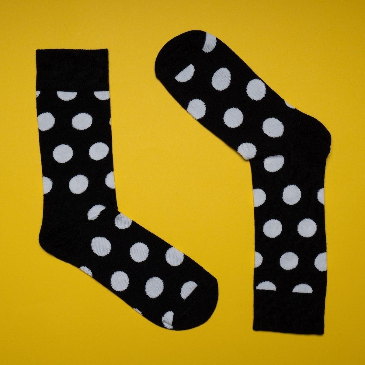 Men's Spotty Socks In Black-White