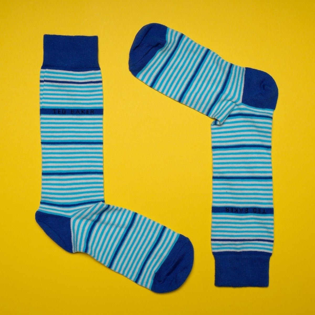 Men's Striped Socks In Light Blue