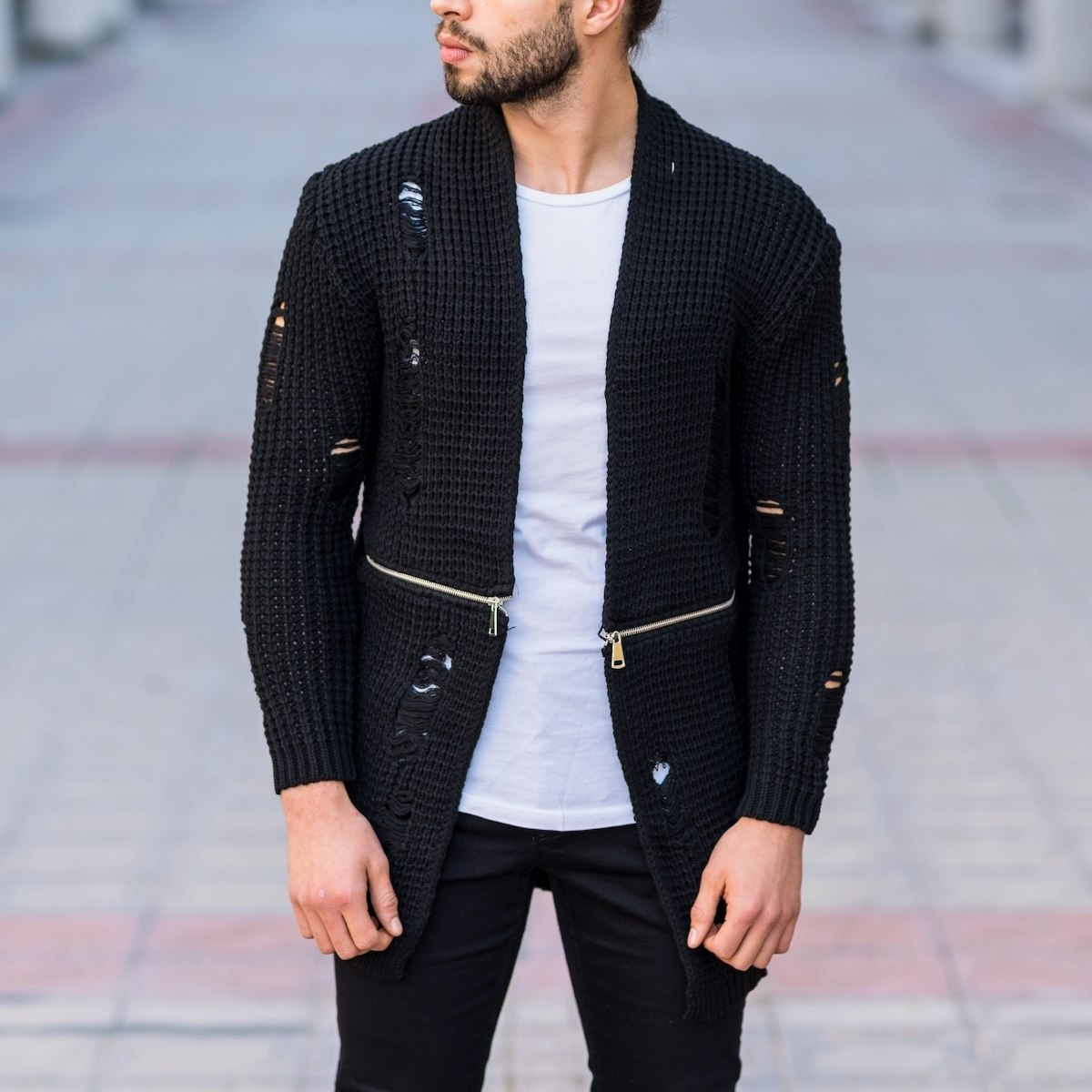 Men's Half Zipped Ragged Cardigan In Black