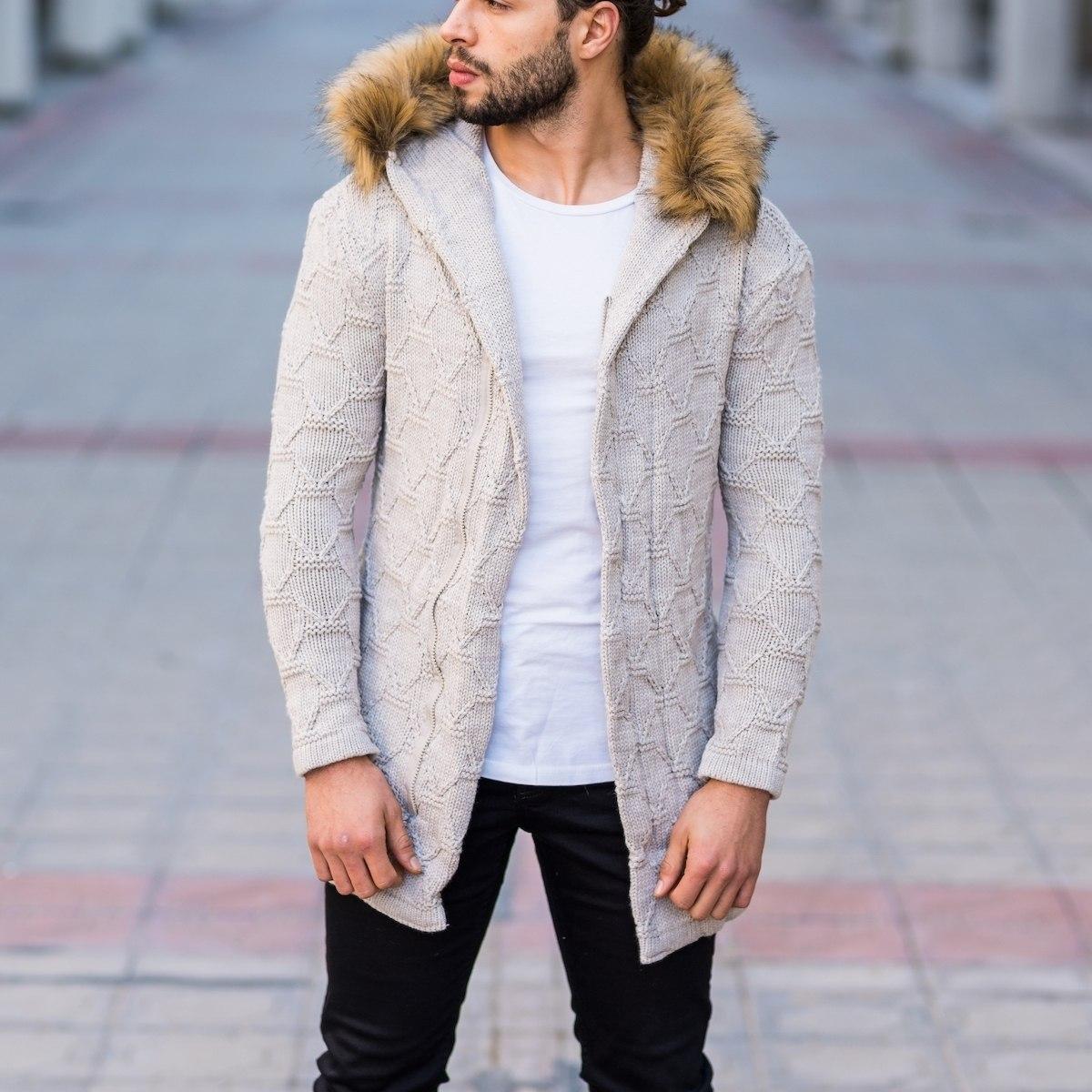 Men's Furry Hooded Cardigan In Beige