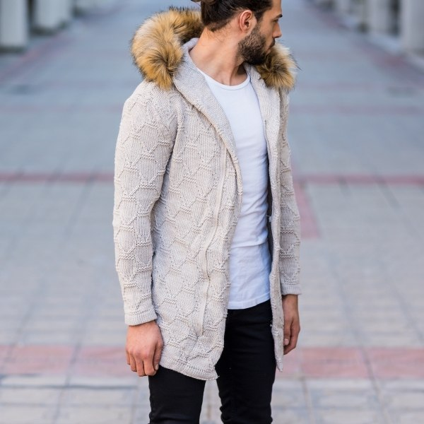 Men's Furry Hooded Cardigan...