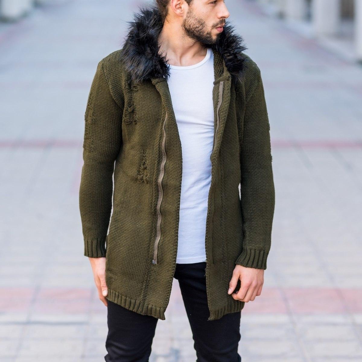 Men's Furry Hooded Cardigan In Khaki